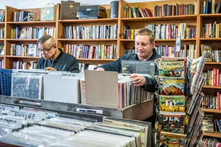 Record Store Day was a beautiful celebration of music and supporting local at record shops all across Indianapolis on Saturday, April 13, 2019. Customers enjoy browsing at Irvington Vinyl and Books.